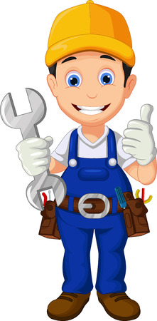 overalls: Cartoon mechanic thumb up