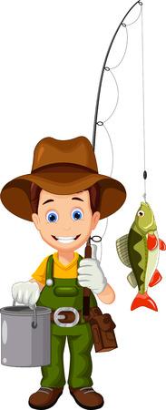 pecheur: pêcheur et le poisson Illustration