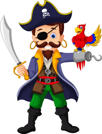 Cartoon pirate and parrots