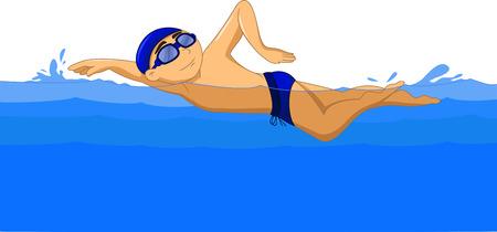 freestyle: Freestyle Swimmer cartoon Illustration