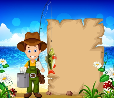 fisher man: fisherman with blank sign and beach background for you design Illustration