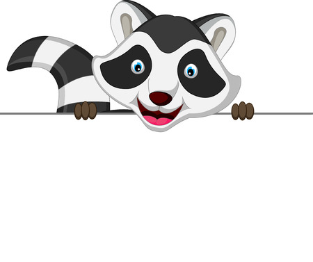 Raccoon cartoon posing with blank sign Stock Illustratie
