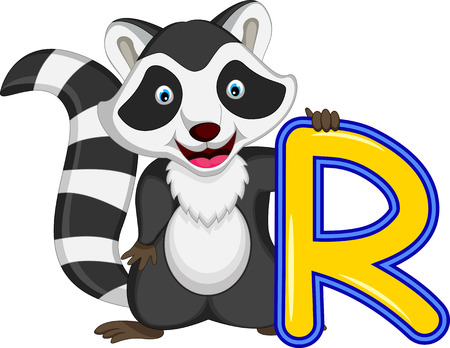 racoon: Raccoon cartoon posing