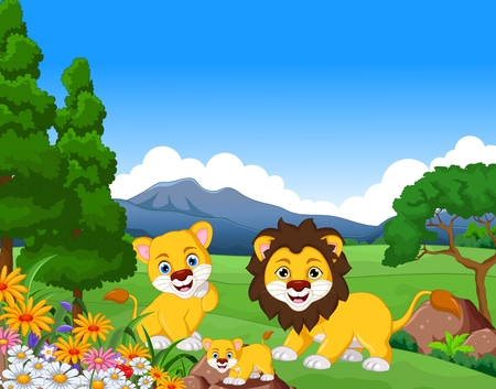 funny lion cartoon family in the jungle