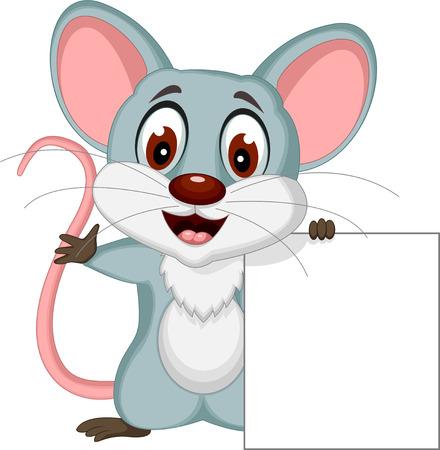 rata caricatura: lindo posando dibujo animado del rat�n con la muestra en blanco