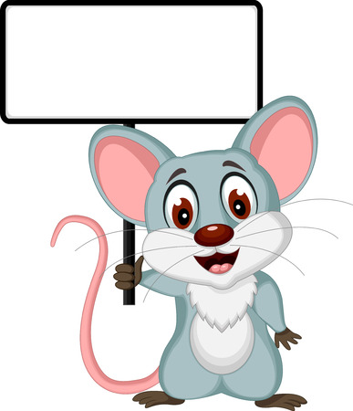 cute mouse cartoon posing with blank sign Çizim