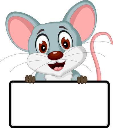 cute mouse cartoon posing with blank sign Ilustrace