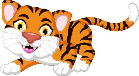 posing: Cute tiger cartoon posing