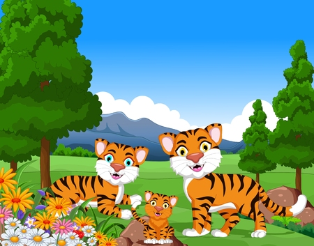 tiger stripe: tiger cartoon family in the jungle Illustration