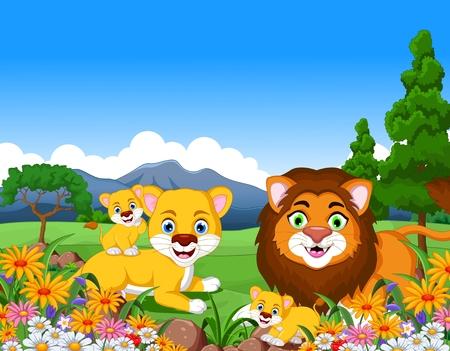 furry animals: familia león de la historieta en la selva