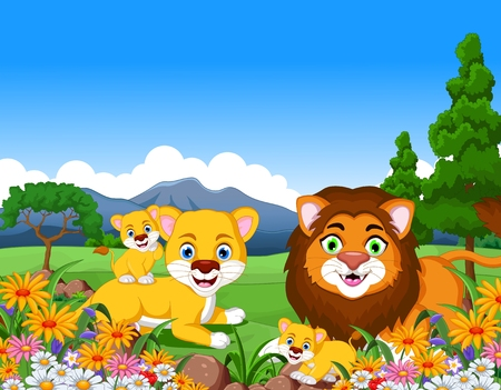 forest clipart: lion cartoon family in the jungle