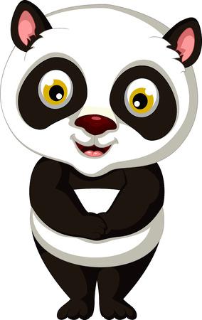 one panda: cute panda cartoon posing