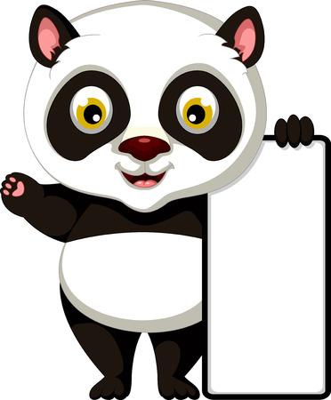 one panda: happy panda cartoon posing with blank sign