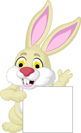 lapin blanc: pose de bande dessinée de lapin mignon avec signe blanc Illustration