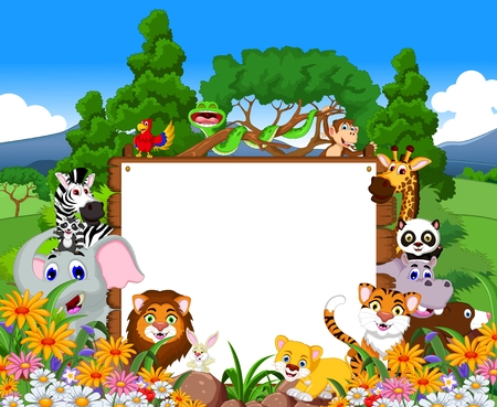 animal cartoon: cute animal cartoon collection with blank board and tropical forest background Illustration