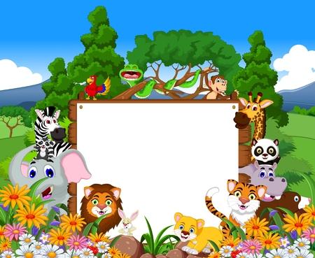 schattige dieren cartoon: leuke cartoon dieren collectie met leeg bord en tropische bos achtergrond Stock Illustratie