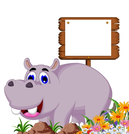 hipopotamo caricatura: de dibujos animados hipopótamo con la tarjeta en blanco