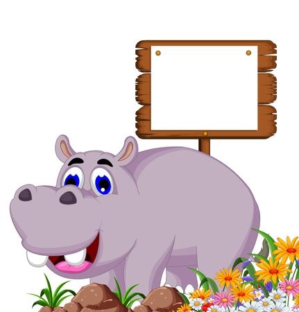 hippo cartoon: hippo cartoon with blank board