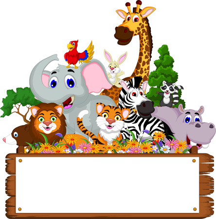 cute animal cartoon collection with blank board and tropical forest background Vectores