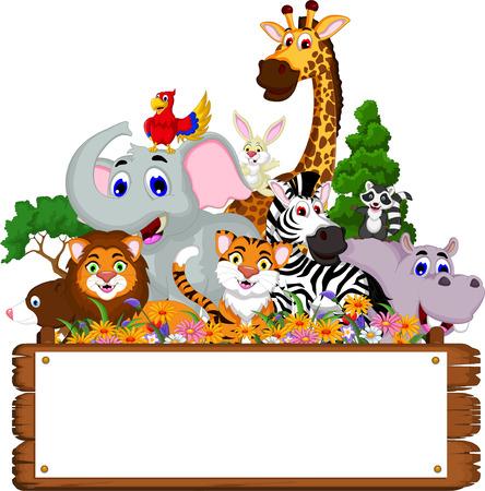 leuke cartoon dieren collectie met leeg bord en tropische bos achtergrond Stock Illustratie