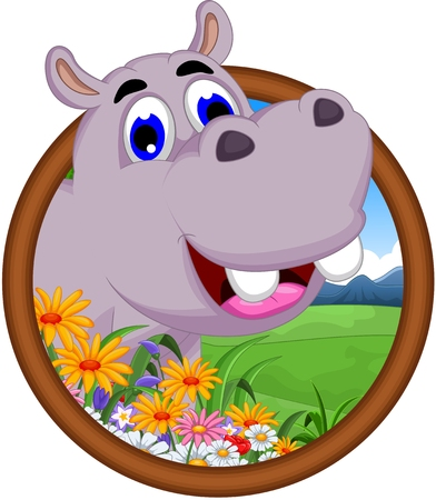 hippo cartoon: hippo cartoon in frame