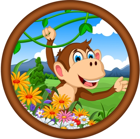 thumping: monkey cartoon hanging Illustration