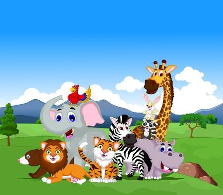 schattige dieren cartoon: leuke cartoon dieren collectie met tropische bos achtergrond Stock Illustratie