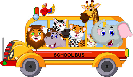 hipopotamo caricatura: colecci�n animal de la historieta linda en autob�s escolar amarillo