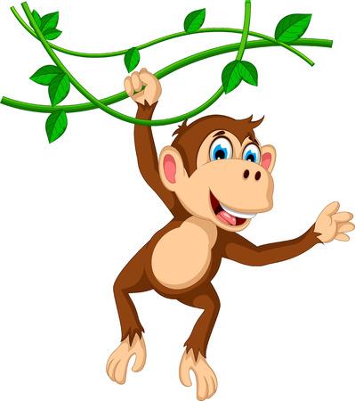 monkey on a tree: monkey cartoon hanging Illustration