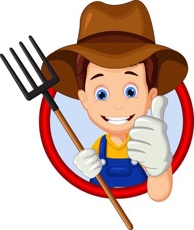 cartoon farmer: cartoon farmer thumb up Illustration