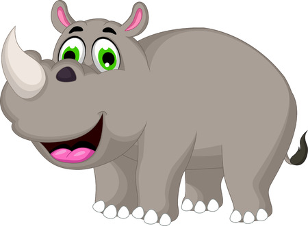 Cartoon rhino for you design Ilustracja
