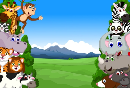 cute animal cartoon collection with tropical forest background