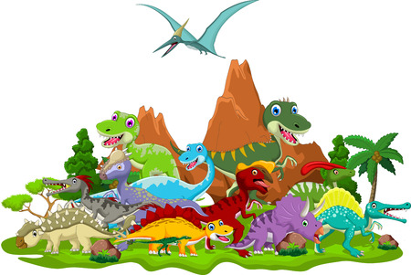 Dinosaur cartoon with landscape background