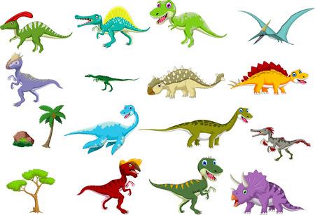 dinosaurio caricatura: colección de dibujos animados dinosaurio Vectores