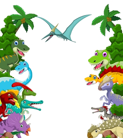 Dinosaur cartoon with landscape background
