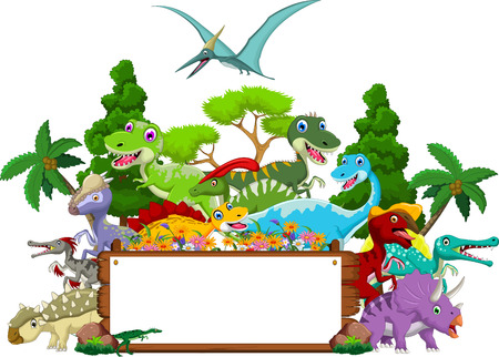 dinosaurs: Dinosaur cartoon with landscape background and blank sign