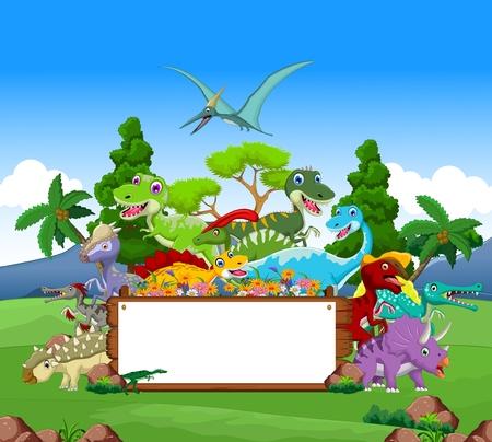 dinosaurio caricatura: Dibujos animados dinosaurio con fondo de paisaje y la muestra en blanco