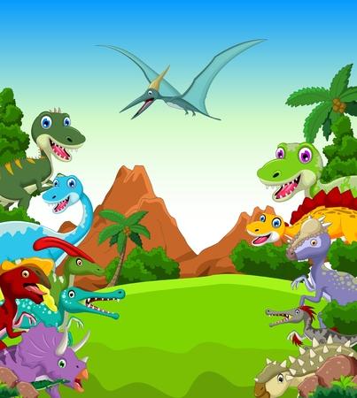 dinosauro: Dinosaur cartone animato con il paesaggio di sfondo