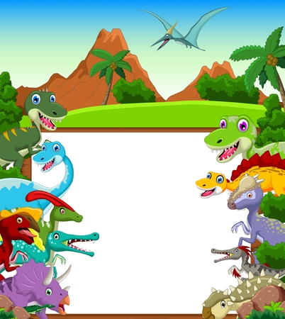 pterodactyl: Dinosaur cartoon with landscape background and blank sign