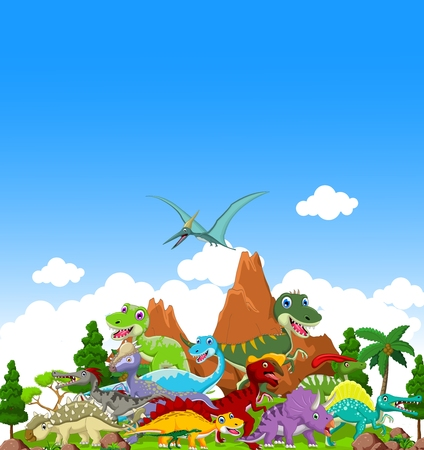 pterodactyl: Dinosaur cartoon with landscape background