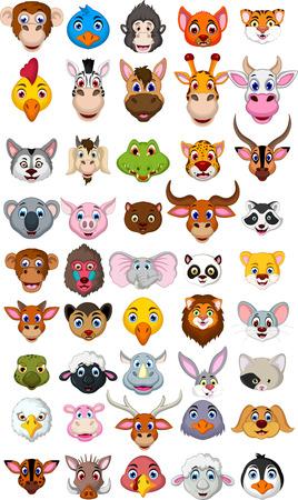 超でっかい動物の頭部の漫画のコレクション  イラスト・ベクター素材
