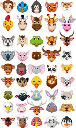 super big animal head cartoon collection Stock Vector - 37723774