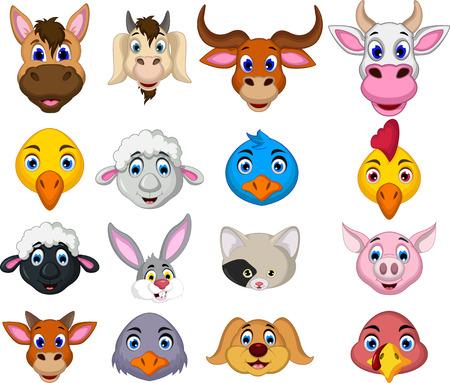 pet animal: farm animal head cartoon collection