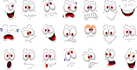 smiling faces: Cartoon face emotions set for you design