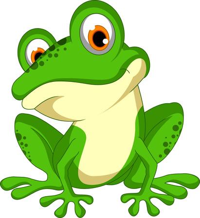 재미 녹색 개구리 만화 앉아