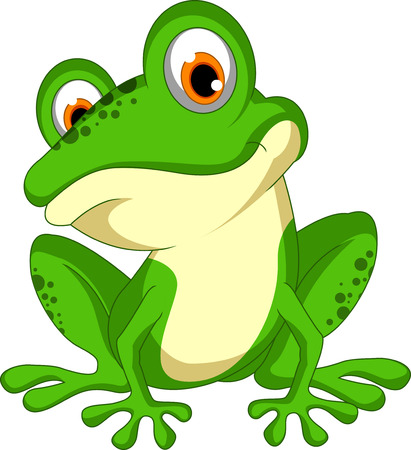 young animal: funny Green frog cartoon sitting