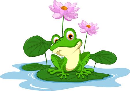 caricaturas de ranas: divertidos dibujos animados rana verde que se sienta en una hoja Vectores