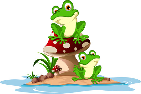 grenouille: Funny frog assis sur le champignon Illustration