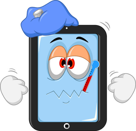 broken screen: Sick tablet cartoon Illustration