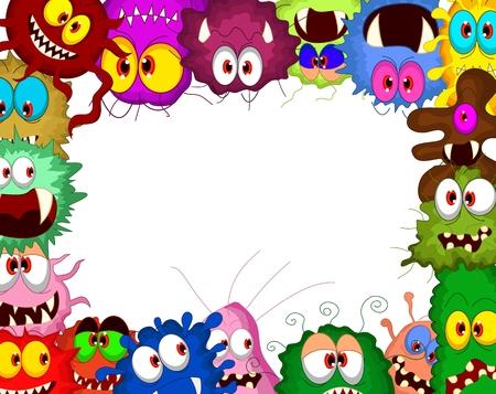 Cartoon bacteria collection set for you design